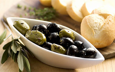 Homemade Bread, Butter and Olives